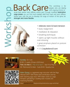 Back Care Workshop poster-May2013